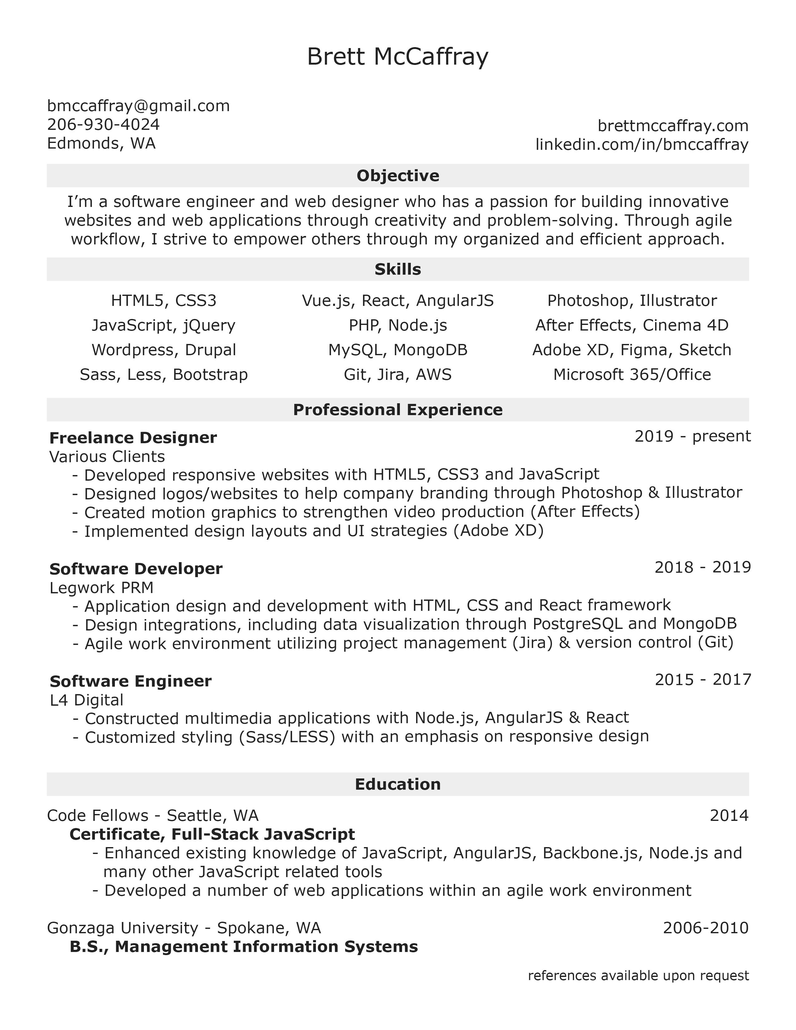 (click To Enlarge) Brett McCaffray Resume  Angularjs Resume